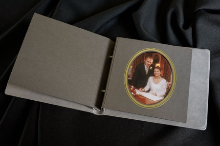 Traditional wedding album with overlays for sale in Derbyshire
