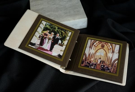 Traditional wedding album with overlays for sale, Derbyshire