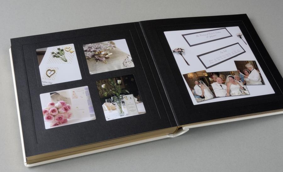 Luxury Italian wedding album with overlays