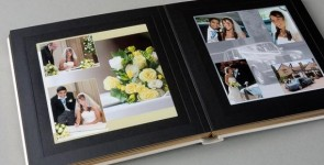 A wedding album designed by Chris James, wedding photographer in Chesterfield Derbyshire