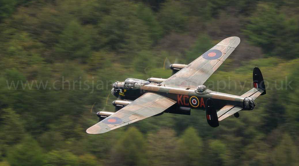 Lancaster PA474 of the Battle of Britain Memorial Flight over Derwent Dam in the Peak District