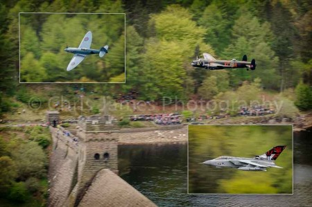 Print to commemorate the Dambusters' 70th anniversary flypast at Derwent Dam, Derbyshire. Photo © Chris James