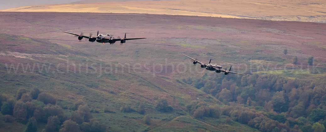 Two Lancaster bombers over Derwent Dam in the Peak District © Chris James