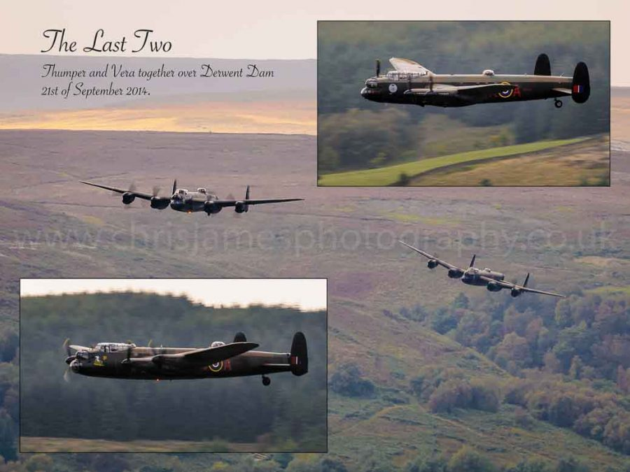 The last two airworthy Lancaster bombers flying over Derwent Dam in the Peak District - commemorative print © Chris James